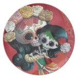 Madre e hija de Dia de Los Muertos Skeletons Platos Para Fiestas