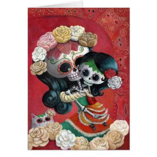 Madre e hija de Dia de Los Muertos Skeletons Tarjeta De Felicitación