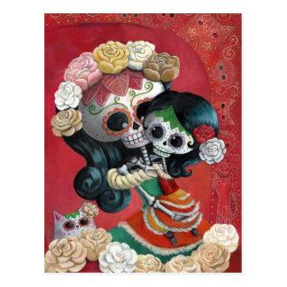 Madre e hija de Dia de Los Muertos Skeletons Postal