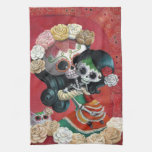 Madre e hija de Dia de Los Muertos Skeletons Toallas De Cocina