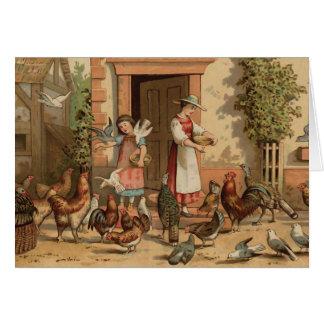 Madre e hija de la casa de la granja del vintage tarjeta