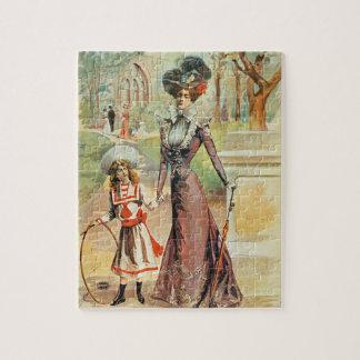 Madre e hija en un paseo (litho del color) puzzles con fotos