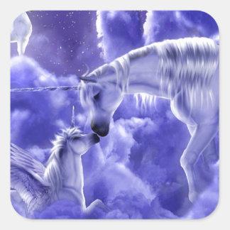 Madre e hija hermosas del unicornio pegatina cuadrada