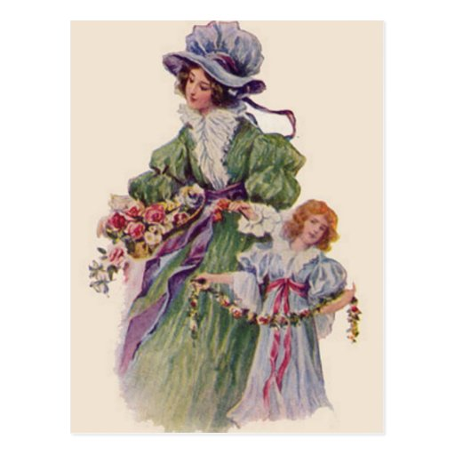 Madre e hija hermosas postal