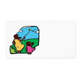 Madre e hija Kiting Etiqueta De Envío