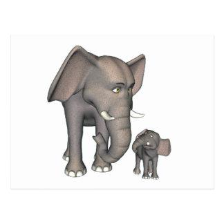 Madre e hijo del elefante del dibujo animado