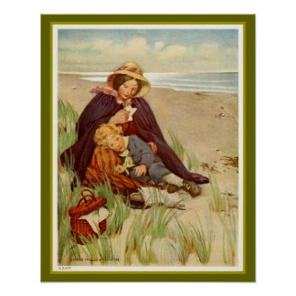 Madre e hijo en la playa póster