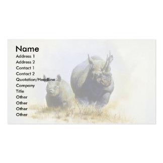 Madre e hijo rinoceronte tarjeta de negocio