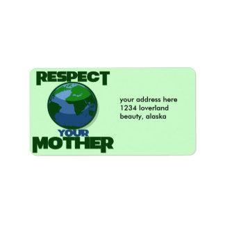 Madre Eath del respecto Etiquetas De Dirección