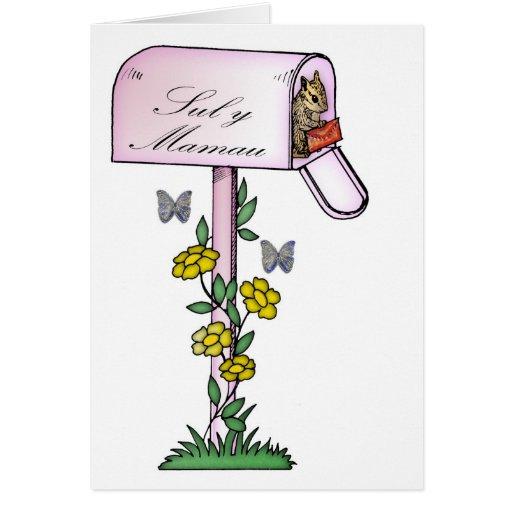 Madre, el día de madre, ardilla linda, languag tarjeta de felicitación