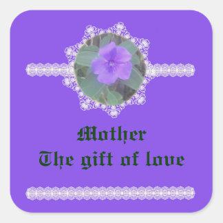 Madre - el regalo del amor pegatina cuadrada