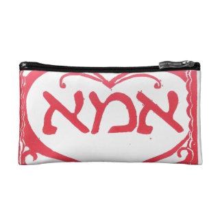 Madre en bolso cosmético hebreo