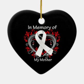 Madre - en corazón del cáncer de pulmón de la adorno de cerámica en forma de corazón