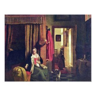 Madre en la cuna de Pieter de Hooch Invitación 10,8 X 13,9 Cm