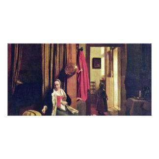 Madre en la cuna de Pieter de Hooch Tarjeta Personal