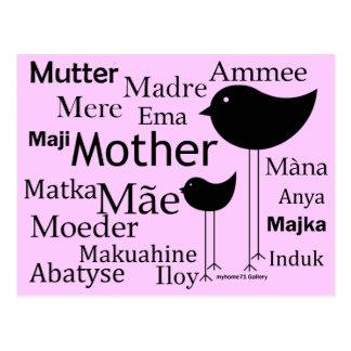 Madre en otros idiomas postal