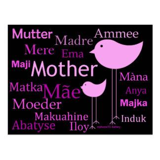 Madre en otros idiomas tarjeta postal