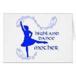 Madre escocesa de la danza de la montaña - azul felicitaciones