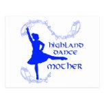 Madre escocesa de la danza de la montaña - azul postal