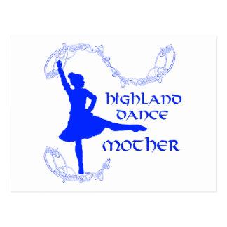 Madre escocesa de la danza de la montaña - azul tarjeta postal
