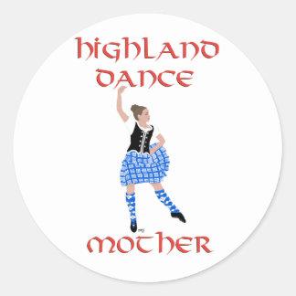 Madre escocesa de la danza de la montaña - chaleco pegatina redonda