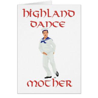 Madre escocesa de la danza de la montaña tarjeta de felicitación