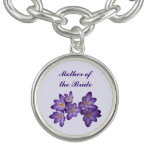 Madre floral del boda de la primavera púrpura de l pulsera con dije