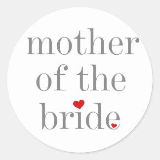 Madre gris del texto de la novia etiqueta redonda