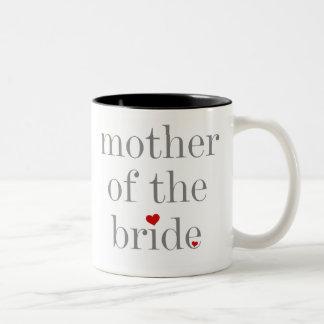 Madre gris del texto de la novia taza de dos tonos