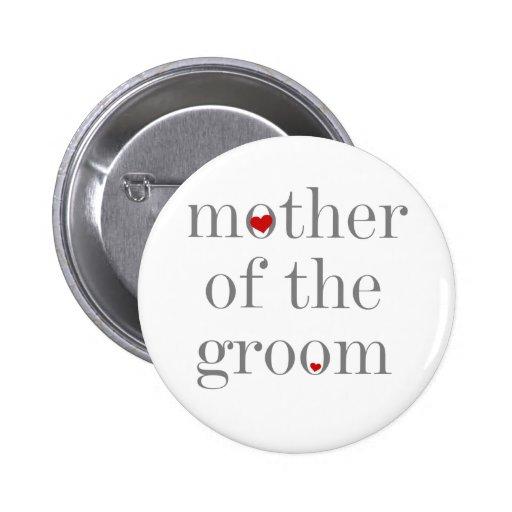 Madre gris del texto del novio pins