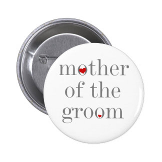 Madre gris del texto del novio pin redondo de 2 pulgadas