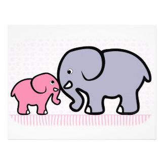 Madre gris y elefante rosado del bebé plantilla de membrete
