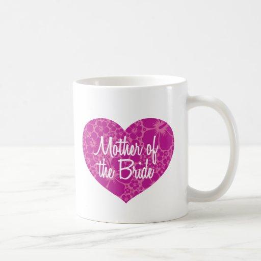 Madre hawaiana del corazón de la novia tazas de café