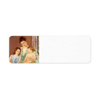 Madre joven de Maria Cassatt- y dos niños Etiquetas De Remite
