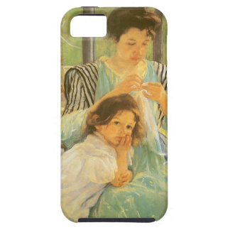 Madre joven que cose por Mary Cassatt iPhone 5 Protectores