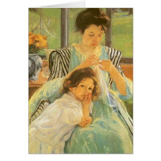 Madre joven que cose por Mary Cassatt Tarjetón