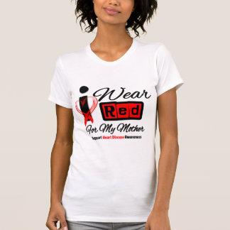 Madre - llevo enfermedad cardíaca roja de la cinta camisetas