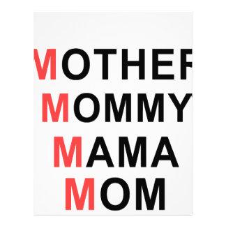 Madre, mamá, mamá, mamá membrete a diseño