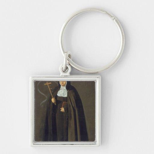 Madre Maria Jeronima de la Fuente, 1620 Silver-Colored Square Keychain
