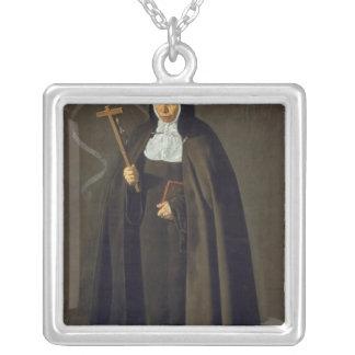 Madre Maria Jeronima de la Fuente, 1620 Square Pendant Necklace