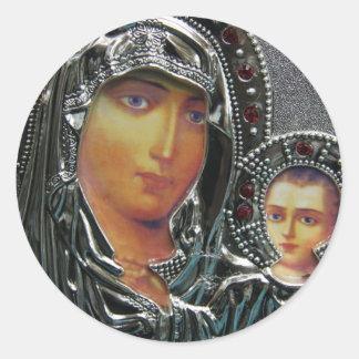 Madre Maria y bebé Jesús Etiquetas Redondas