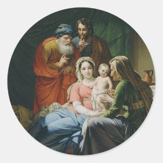 Madre Maria y bebé Jesús Pegatina Redonda