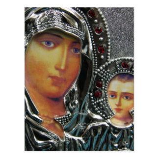 Madre Maria y bebé Jesús Postal