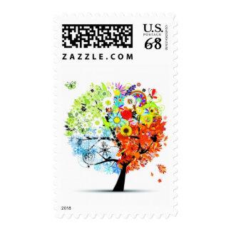Madre naturaleza y su franqueo del medio de cuatro sello postal