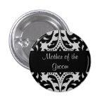 Madre negra y gris del damasco del victorian del pin redondo de 1 pulgada