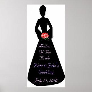 Madre nupcial de la silueta de la novia poster