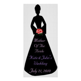 Madre nupcial de la silueta de la novia póster