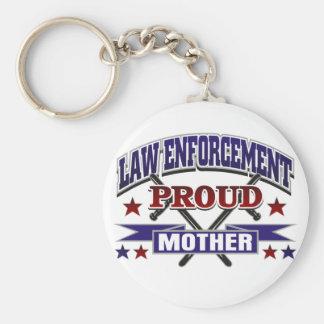 Madre orgullosa de la aplicación de ley llaveros personalizados