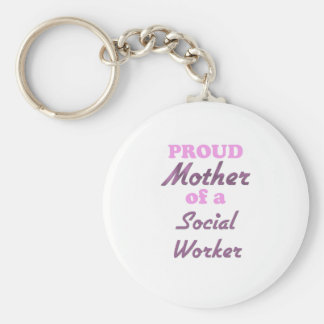 Madre orgullosa de un asistente social llavero redondo tipo pin