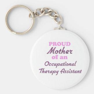 Madre orgullosa de un ayudante de la terapia llavero redondo tipo pin